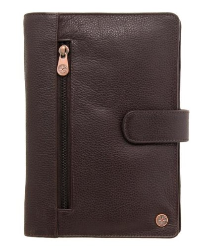 1642 Men's Leather Travel Organiser Folio 6515 with Wrist Strap Brown