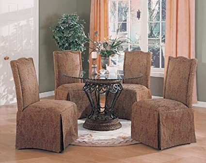 5pc Luxury Terracotta Finish Round Dining Table & Parson Chairs Set