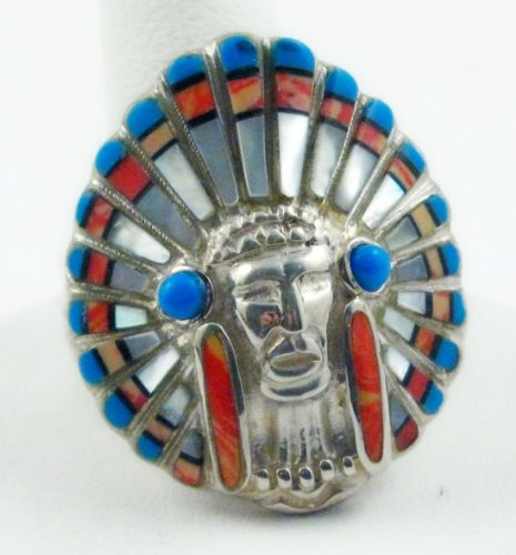 Indian Chief's Head Ring Turquoise Man's Ring (14)
