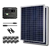 Starter Kit 200W Poly: 2pc 100W Poly Solar Panel +30A Charge controller+20