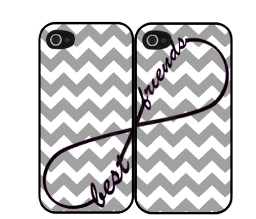 Gray Grey Chevron Print Infinity Sign Best Friends Set Iphone 5 Case