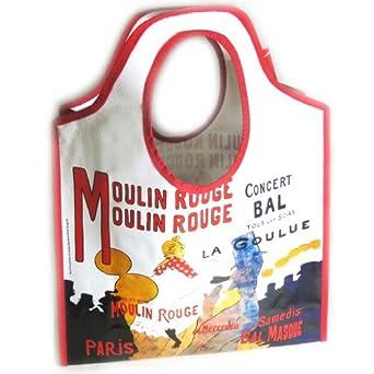 Shopping bag 'Lautrec - Moulin Rouge'beige red.