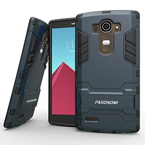 Case, Pasonomi® [Heavy Duty] [Shock-Absorption] [Kickstand Feature] Hybrid Dual Layer Armor Defender Full Body Protective Case Cover for LG G4