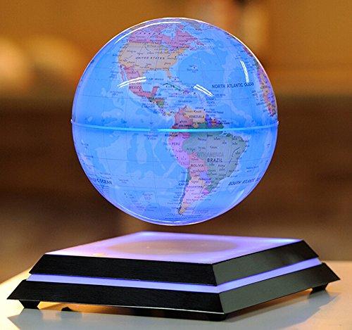 GXFC 浮かぶ地球儀 浮遊・回転型の地球儀 青色LEDで美しくライトアップ...