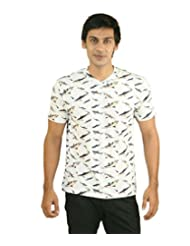 Hypernation White Color Shark Printed Half Sleeves V-Neck T-Shirts For Men
