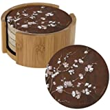 Cherry Blossom Natural Sandstone Coaster Set and Bamboo Coaster Holder
