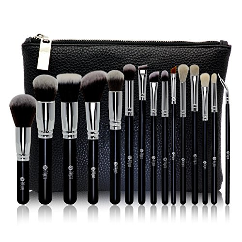 FEIYAN Makeup Brush Set Premium Natural Goat Hair Synthetic Cosmetic Professional Kabuki Makeup Foundation Blush Eyeshadow Concealer Powder Brushes Kit with Case (15 pcs, Silver Black ) (Goat Hair Make Up Brushes compare prices)