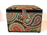 St.Jane Sewing Basket,autumn Paisleys,plastic Compartment Shelf,handle,10.1″x10.1″x7.2″ Dritz, Free Gift! image