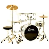 White Drum Set for Sale with Cymbals Hardware and Stool New Gammon 5-Piece Kit Full Size
