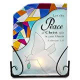 Shine On Me By Pavilion Glass Tea Light Holder Peace Sentiment 6 By 8-Inch