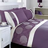 Mei Purple Heather Cream Soft Jacquard Double Duvet Cover and Pillowcases