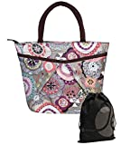 JAVOedge Double Pocket Paisley Daiset Pattern Lunch Bag Tote with Zipper and Handle + Bonus Drawstring Storage Bag