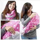 "Mania bufanda para lactancia ""Pink Star"" con depósito integrado para discos de lactancia, en talla 1, para mujeres con talla S-M hecho a mano"
