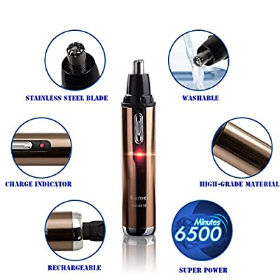 Cheapest Sunmy®Nose Hair Trimmer Ear and Nose Hair Clippers Water Resistant Steel Mane Trimmer Ear and Facial Hair Trimmer for Men/Women with LED Light Golden Trimmer Electric Nose Hair Removal(golden) by Sunmy - Free Shipping Available