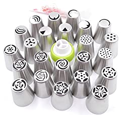 Russian Piping Tips - Cake/Cupcake Decorating Icing Tips - 29 Pieces Set - 23 Extra Large Stainless Steel Pastry Nozzle Piping Tips, 1 XL Tri-color Coupler with 5 Pastry Decorating Icing Bags by Pridebit