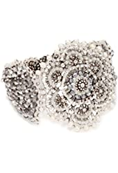 Miguel Ases Pyrite Bead Grand Flower Magnetic Bracelet