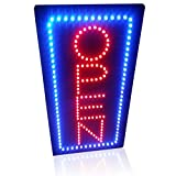 Leadleds 1910-2 Open Sign Portable 19-inch Height Vertical Neon Sign with 2 Light Modes for Bar Tattoo Salon Store Beauty Spa Business