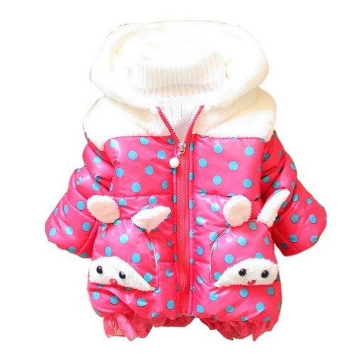 Little Hand Baby Girls' Winter Rabbit Animal Zip Dot Hoodies Coats front-1021595