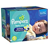 Help eliminate nighttime leaks! Pampers Baby Dry Extra Protection diapers are absorbent enough to last up to 12 hours for superior dryness and protection. With softer inner and outer covers,* they will help keep your little one comfortable overnight ...