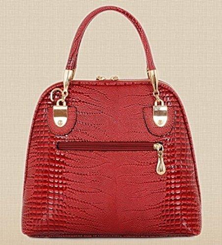 Maison De Decoration©Sac rouge serpentin d'épaule de sac à main de sac de messager de cuir de la vache des femmes (rouge).