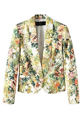 Alionz Women Autumn Lapel Collar Bold Floral Printed Slim Fitted Short Blazer