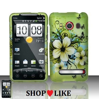 Rubberized Green Hawaiian Flower Snap on Design Case Hard Case Skin Cover Faceplate for Sprint HTC EVO 4g + Screen Protector Film+ Free Cellphone Bag