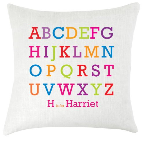 Alphabet personalised childrens nursery cushion 18x18