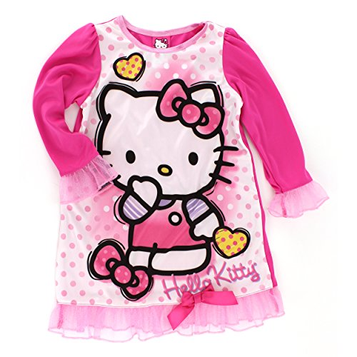 Hello Kitty Girls Pink Nightgown Pajamas (6) front-11724