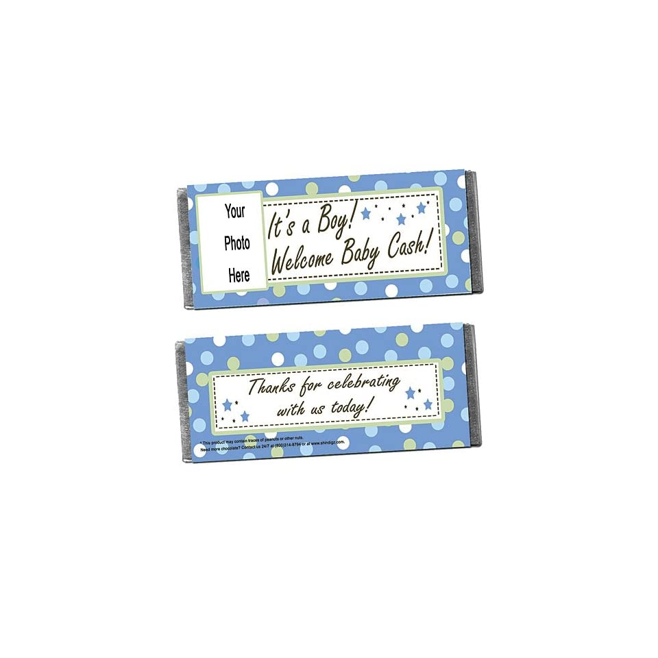 Baby Boy Personalized Photo Candy Bar Wrappers   Qty 12