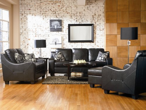 Buy Low Price AtHomeMart 4PC Black Contemporary Leather Sofa, Loveseat, Chair, and Ottoman Set (COAS502271_502272_502273_502274_4PC)