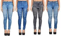 Timbre Denim Look Printed Leggings Pack of 4 Slim Leggings Free Size 24