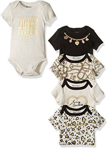 Juicy Couture Baby Girls' 5 Pack Bodysuit, Black/Vanilla, 0-3 Months