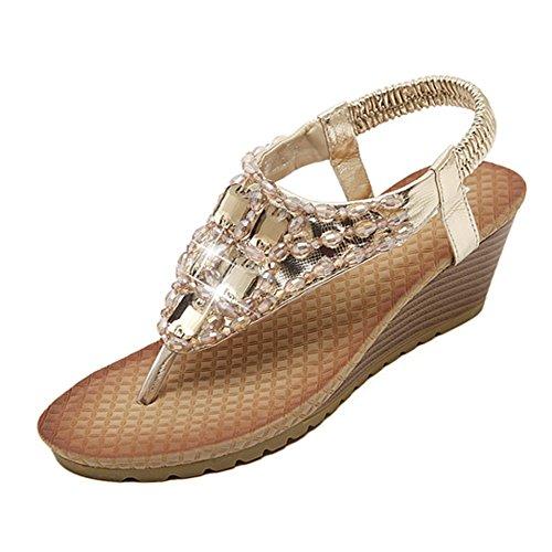 Sandali da donna da estate, piatti, modello con infradito, colore dorato e argento (EU 38, dorato)