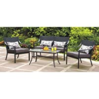 Mainstays Alexandra Square 4-Piece Patio Conversation Set, Grey with Leaves, Seats 4 by Mainstays