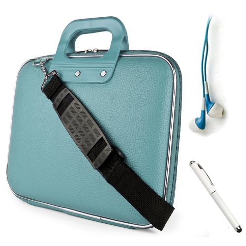 Fashion Faux Leather Hard Shell Cube, Shoulder Bag, Travel Carrying Case For The All New Kindle Fire Hd 8.9 Inch Android Tablet By Amazon + Blue Crystal Clear High Quality Hd Noise Filter Ear Buds ( 3.5Mm Jack ) + Professor Pen 3 In 1 Red Laser Pointer /
