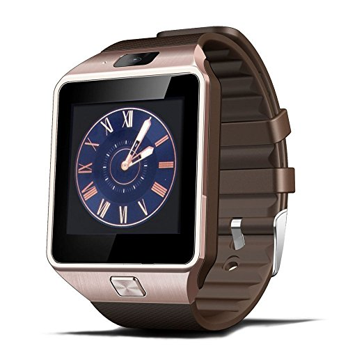 Luxsure? Smartwatch DZ09 Bluetooth Smart Watch Wrist Wrap Watch Phone Micro SIM Card with Camera Touch Screen for Samsung Galaxy S4/S5/S6, HTC and iPhone 5, iPhone 6/6 PLUS Smartphones(Gold) [並行輸入品]