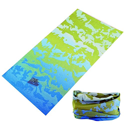 Multifunctional 16-in-1 Yoga Sports Fashion Travel Colors Headband Seamless Neck Uv Buff Solid Moisture Wicking Bandana Hair Turban Scarf (17blue wave)