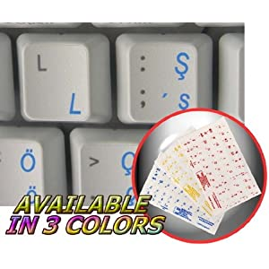 TURKISH Q KEYBOARD STICKERS WITH BLUE LETTERING ON TRANSPARENT BACKGROUND FOR DESKTOP, LAPTOP AND NOTEBOOK 4KEYBOARD