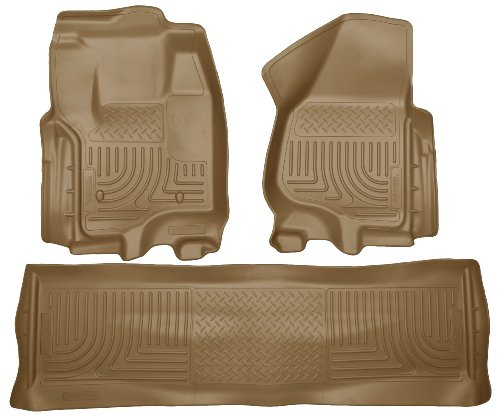 Husky Liners Custom Fit WeatherBeater Molded Front and Second Seat Floor Liner for Select Ford F-250 /F-350 Models (Tan) (Husky Floor Mats Ford F250 compare prices)