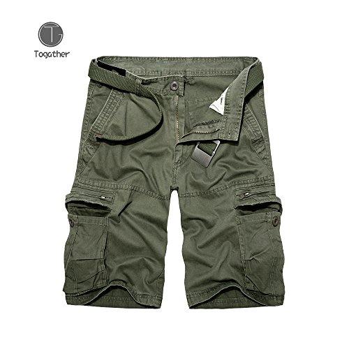 Togather® Abbigliamento Outdoor Slim Fit cotone sciolto grande solido multi-tasca Cargo casuali pantaloncini Lightweight Uomo (Verde militare, 36)