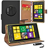Nokia Lumia 1020 - Premium Quality PU Leather Wallet Flip Case Cover Pouch + Screen Protector With Microfibre Polishing Cloth + Touch Screen Stylus Pen By CCUK