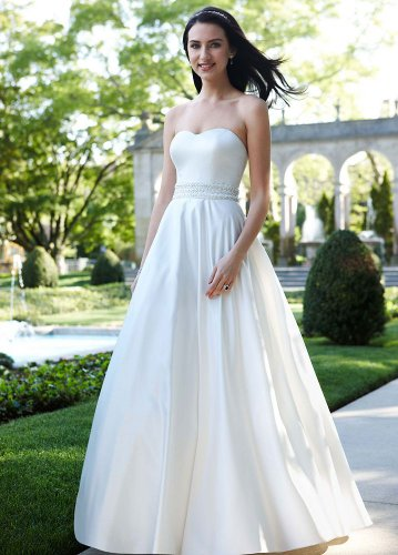 585490f877ce5 David's Bridal Women's Strapless Satin A-Line Dress with Beaded Waistband