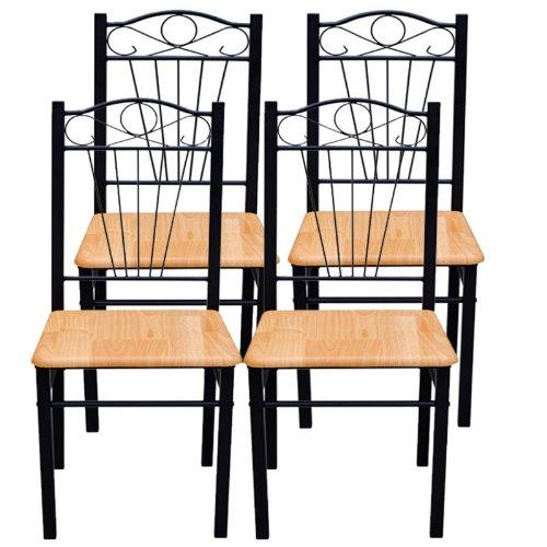 Vidaxl Living/Bar Dining chairs (light brown) set of 4 Sedie Cucina e da Pranzo, Legno e Acciaio (Set da 4), miele