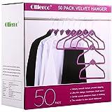 Ollieroo 50PK Heavy Duty Cascade Hangers Set Steel Swivel Hooks Ultra Thin Non-slip Velvet Coat Hangers Suit Hangers Set (Purple)