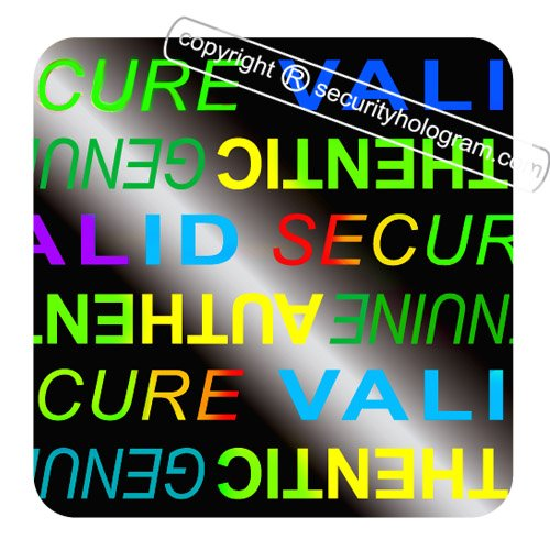 "49 3D Stickers Protective Security Holograms ""Secure, Valid, Genuine, Authentic"" Tamper Evident 0.79"" x 0.79"" (20 mm x 20 mm)"