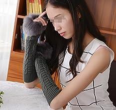 Eforstore Women Ladies Girls Faux Fur Furry Winter Soft Wool Warm Knitted Crochet Half Finger Gloves