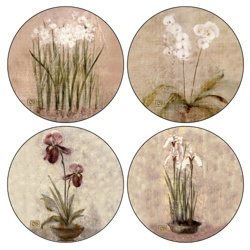Coasterstone as465 subtle flowers absorbent coasters 4 1 4 inch set of 4 new ebay - Stone absorbent coasters ...