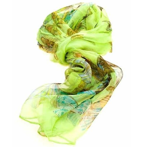 Women's Multi Function 100% Pure Silk Green Butterfly Scarf/Headwear- Tested by leading authority