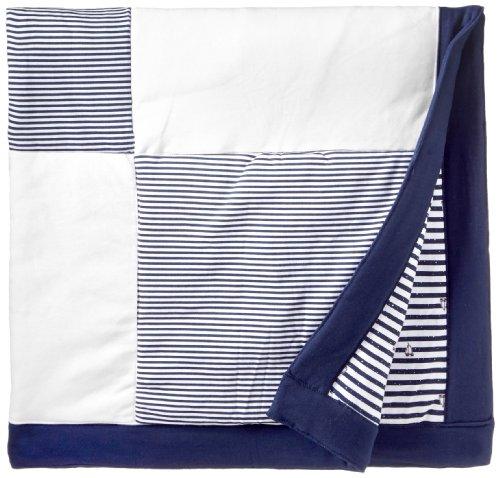 Little Me Baby-Boys Newborn Striped Sails Stroller Blanket, Navy Stripe, One Size