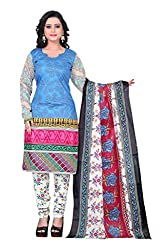 Fashionx Blue cotton printed unstitched dress material